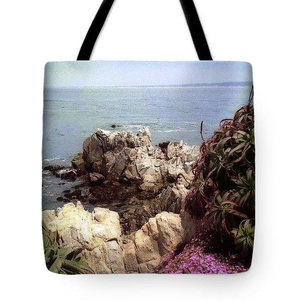 Ocean View Rock And Flowers Tote Bag