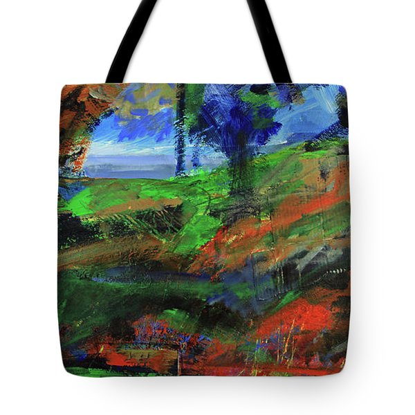 Tote Bag featuring the painting Ocean View Through The Forest by Walter Fahmy