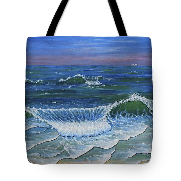 Tote Bag featuring the painting Ocean Waves Dance At Dawn Original Acrylic Painting by Georgeta Blanaru