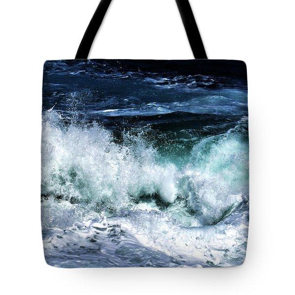 Ocean Waves In Dark Blue Tote Bag