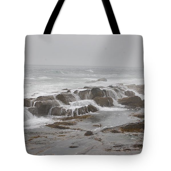 Tote Bag featuring the photograph Ocean Waves Over Rocks by Frank Stallone