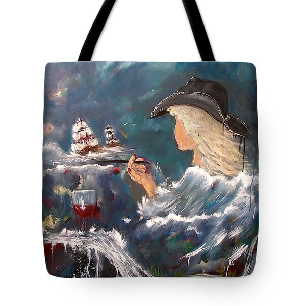 Tote Bag featuring the painting Ocean Wine by Miroslaw  Chelchowski