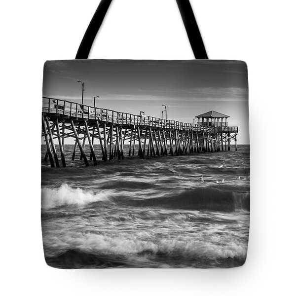Tote Bag featuring the photograph Oceana Ocean Crest Fishing Pier In Nc Panorama In Bw by Ranjay Mitra