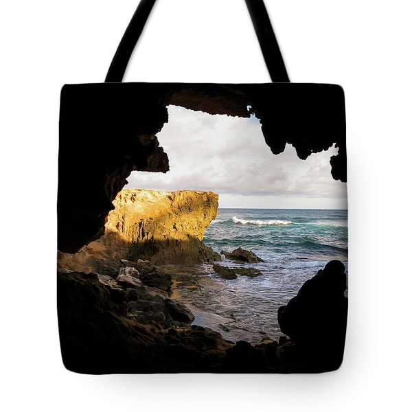 Oceanfront Cave Tote Bag