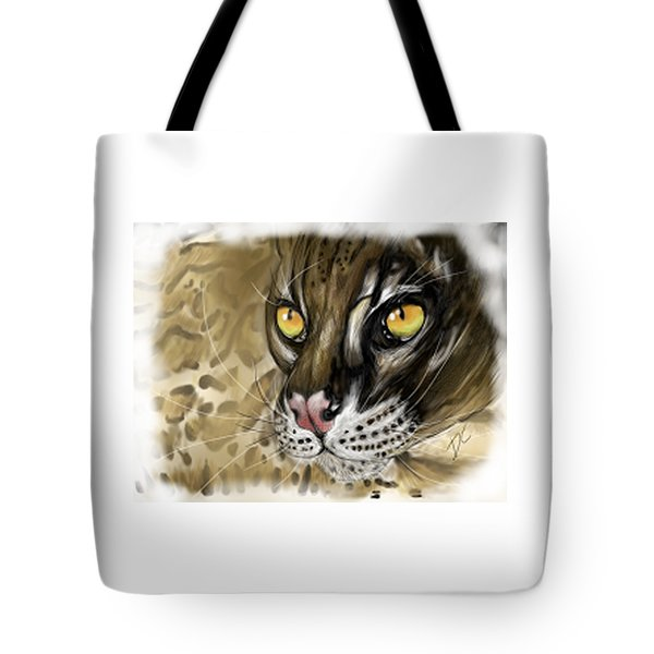 Tote Bag featuring the digital art Ocelot by Darren Cannell