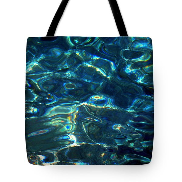 Tote Bag featuring the photograph Ocean Water Reflections Island Santorini Greece by Colette V Hera  Guggenheim