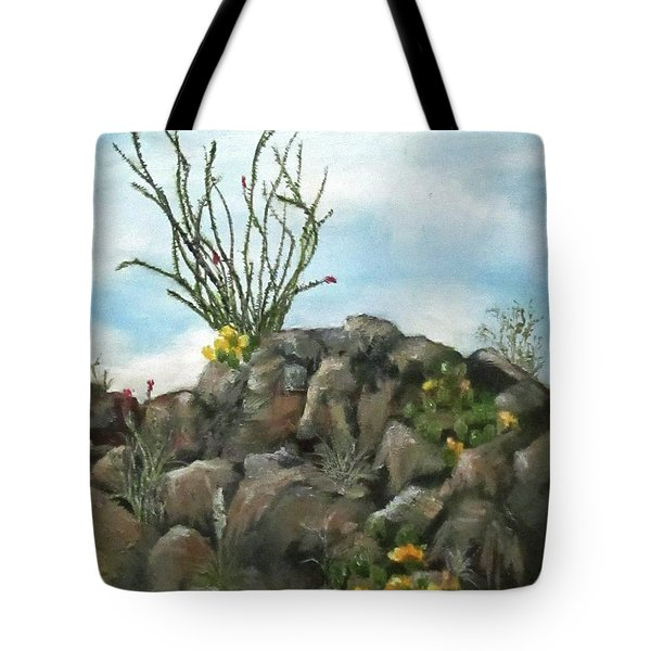 Ocotillo In Bloom Tote Bag by Roseann Gilmore