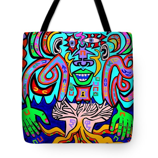 Ocotopus Man In The Sound Wave Sea Tote Bag by Ed Tajchman