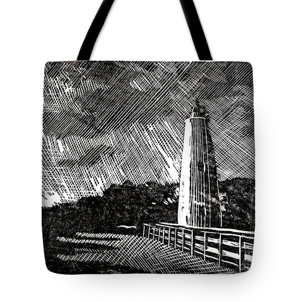 Tote Bag featuring the painting Ocracoke Island Lighthouse II by Ryan Fox
