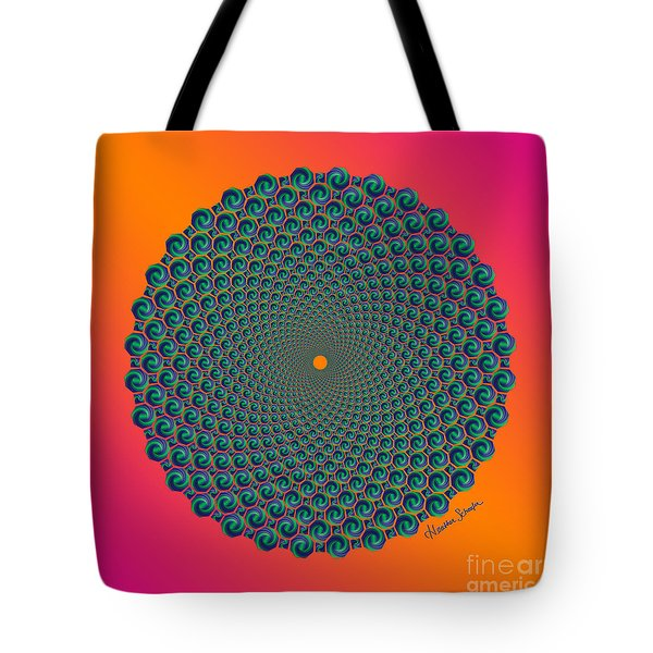 Octagonal Peacock Feathers Tote Bag