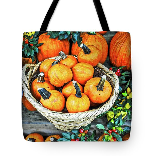 Tote Bag featuring the photograph October Pumpkins by Joan Reese