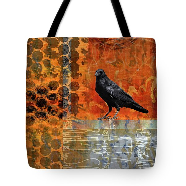 Tote Bag featuring the painting October Raven by Nancy Merkle