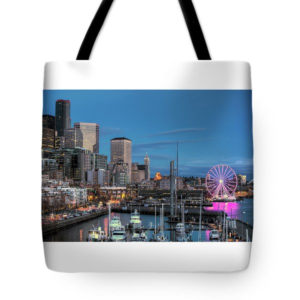 October Twilight Seattle Waterfront Tote Bag