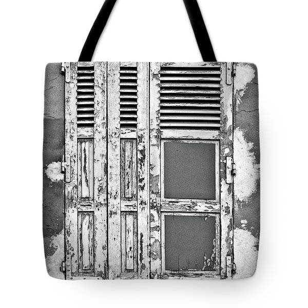 Tote Bag featuring the photograph Odd Pair - Shutters by Nikolyn McDonald