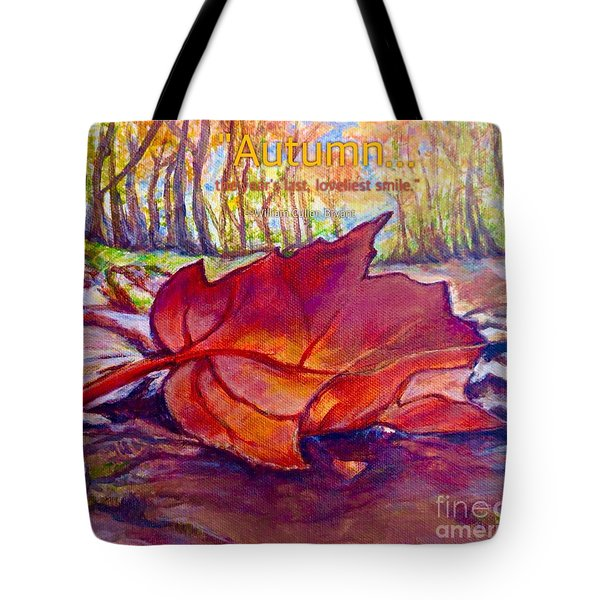Ode To A Fallen Leaf Painting With Quote Tote Bag
