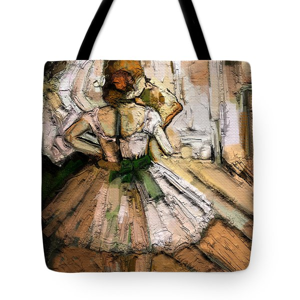 Tote Bag featuring the painting Ode To Degas by Carrie Joy Byrnes