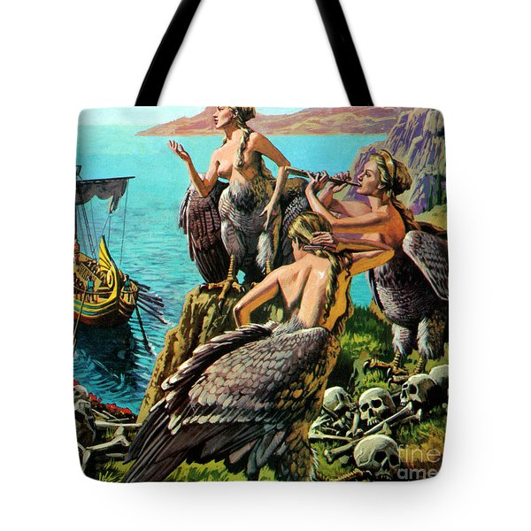 Odysseus And The Sirens Tote Bag by English School