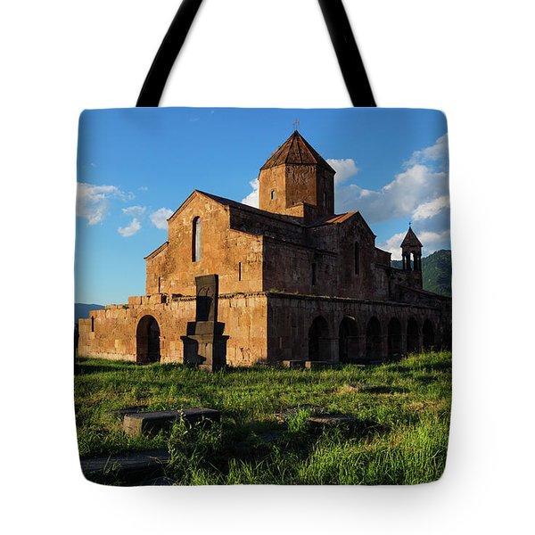 Odzun Church And Puffy Clouds At Evening, Armenia Tote Bag