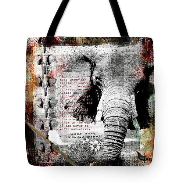 Tote Bag featuring the digital art Of Elephants And Men by Nola Lee Kelsey
