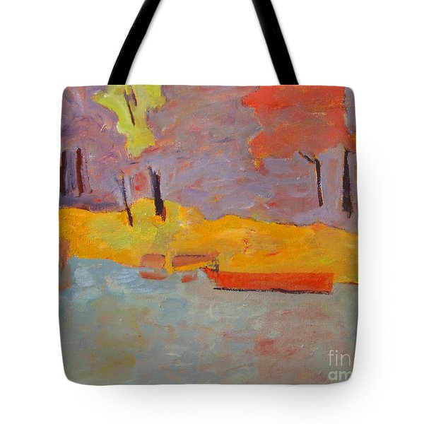 Tote Bag featuring the painting Of What Shade Of Purple Does My Boat Reflect by Charlie Spear