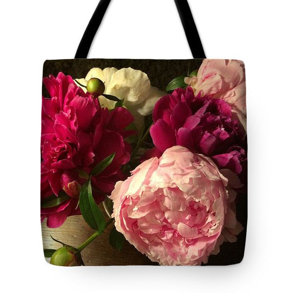 Off Center Peonies Tote Bag by Gillis Cone