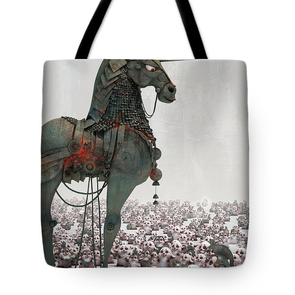 Tote Bag featuring the digital art Offering by Te Hu
