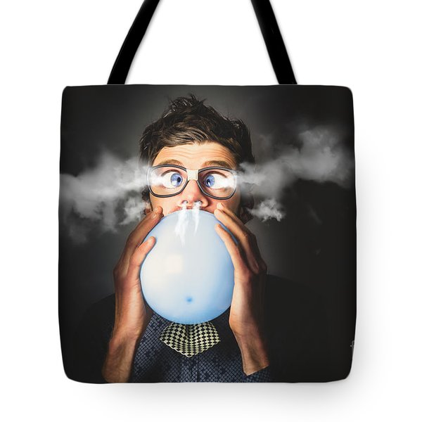 Tote Bag featuring the photograph Office Party Nerd Blowing Up Birthday Balloon by Jorgo Photography - Wall Art Gallery