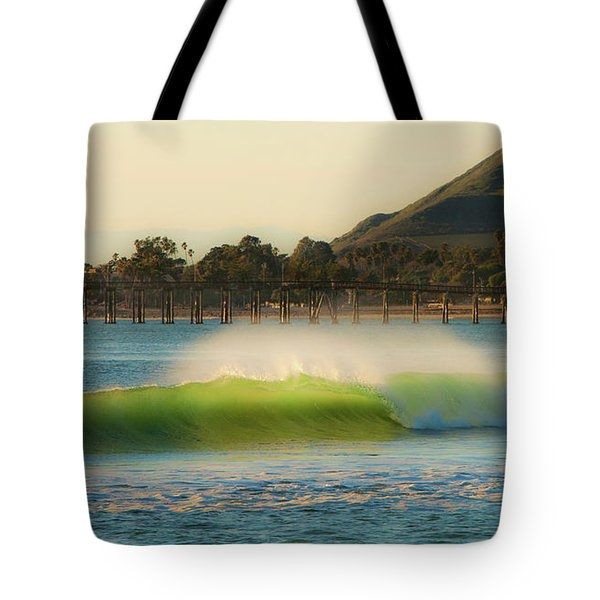 Tote Bag featuring the photograph Offshore Wind Wave And Ventura, Ca Pier by John A Rodriguez