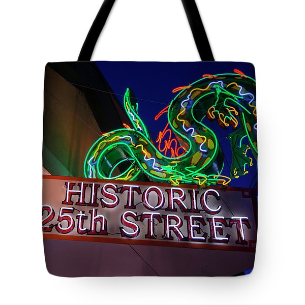 Ogden's Historic 25th Street Neon Dragon Sign Tote Bag by Gary Whitton