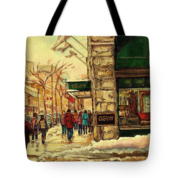 Ogilvys Department Store Downtown Montreal Tote Bag by Carole Spandau