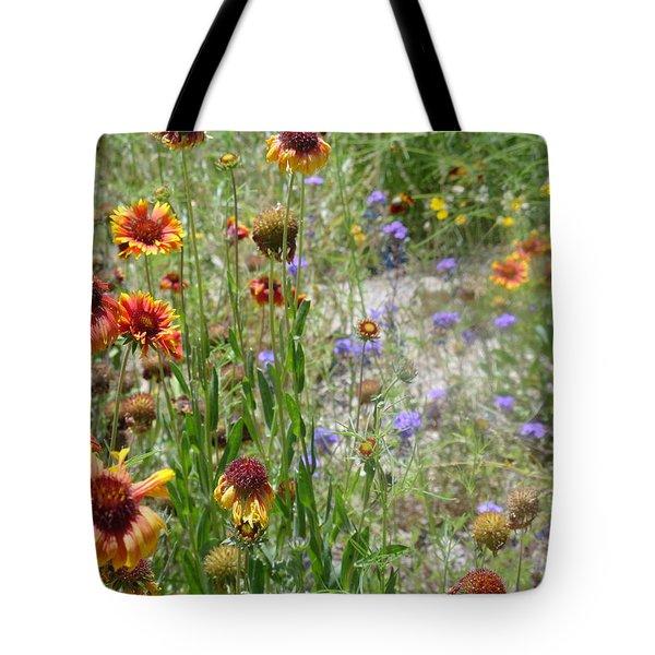 Oh Hi Orange Red Purple Flowers Tote Bag