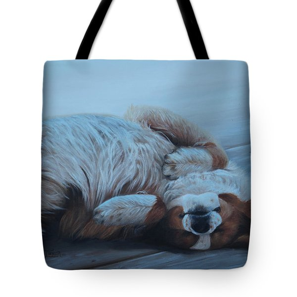 Tote Bag featuring the painting Dog Gone Tired by Tammy Taylor