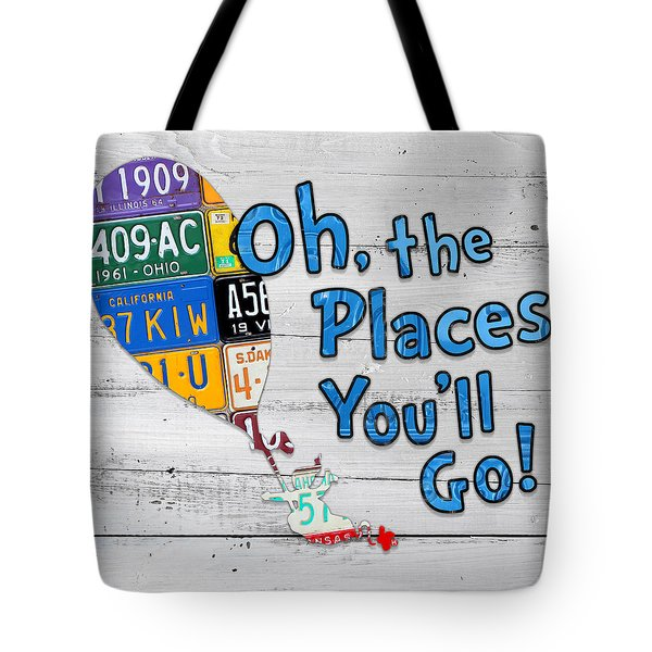Oh The Places Youll Go Dr Seuss Inspired Recycled Vintage License Plate Art On Wood Tote Bag