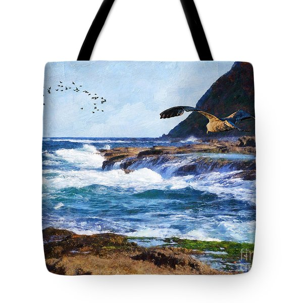 Tote Bag featuring the painting Oh The Wind And The Waves by Lianne Schneider