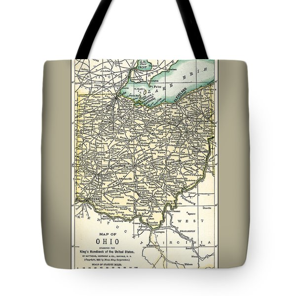 Ohio Antique Map 1891 Tote Bag