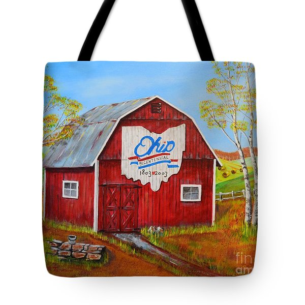 Tote Bag featuring the painting Ohio Bicentennial Barns 2 by Melvin Turner