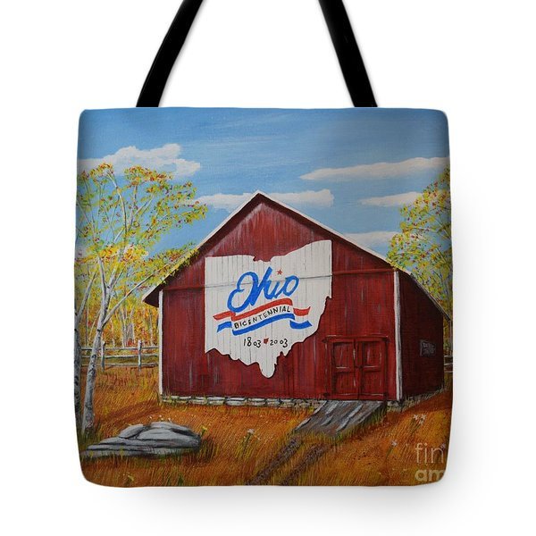 Tote Bag featuring the painting Ohio Bicentennial Barns 22 by Melvin Turner