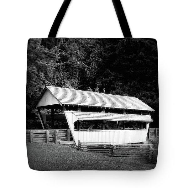 Ohio Covered Bridge In Black And White Tote Bag