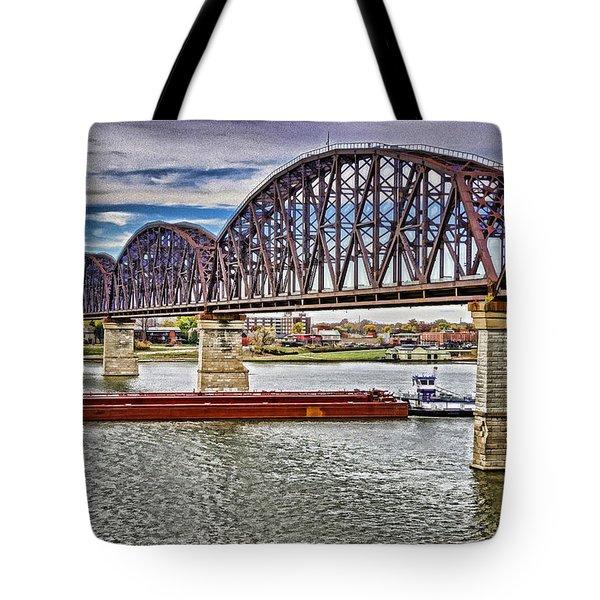 Ohio River Bridge Tote Bag by Dennis Cox