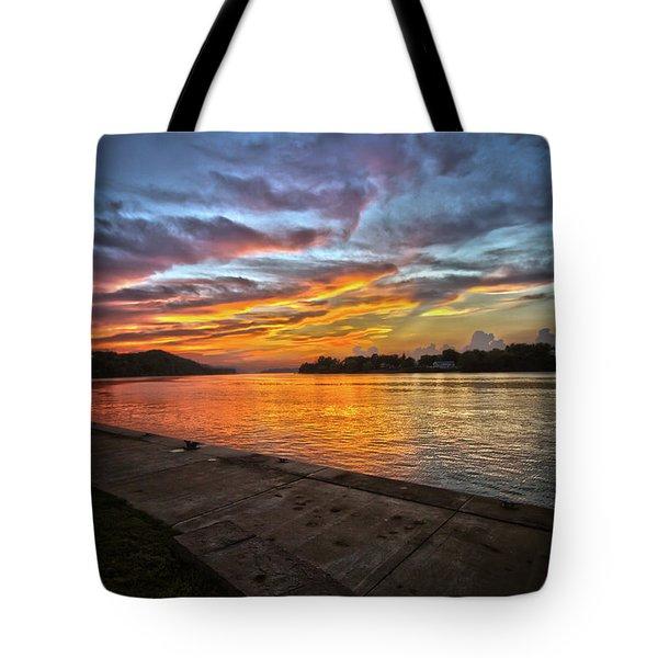 Ohio River Sunset Tote Bag