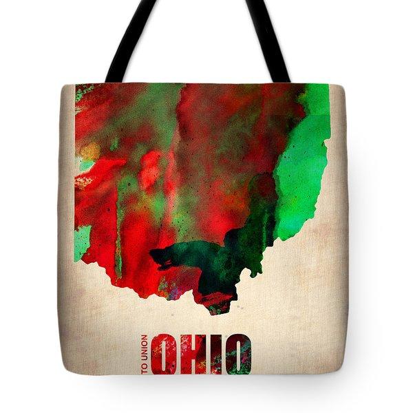 Ohio Watercolor Map Tote Bag by Naxart Studio