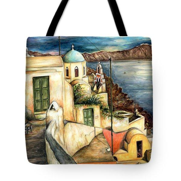 Oia Santorini Greece - Watercolor Tote Bag
