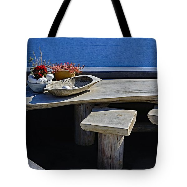 Oia Still Life On The Greek Island Of Thira Tote Bag