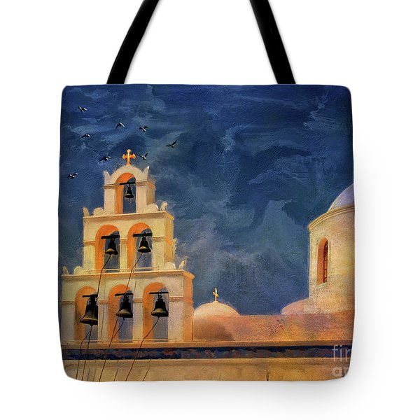 Tote Bag featuring the photograph Oia Sunset Imagined by Lois Bryan