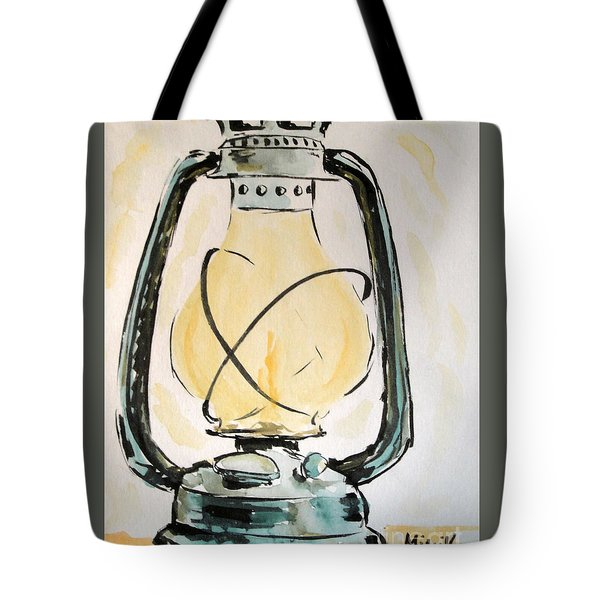 Tote Bag featuring the painting Oil Lamp by Maria Langgle