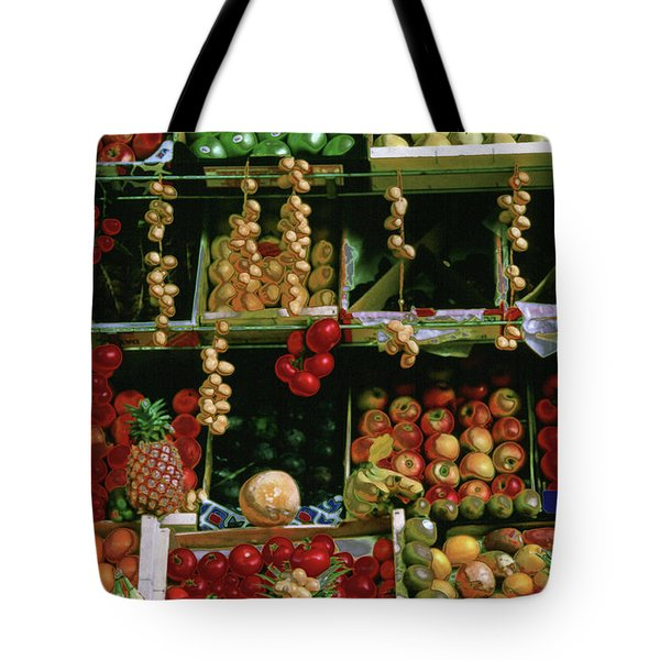 Oil Painted Faux Paris Fruit Display Tote Bag