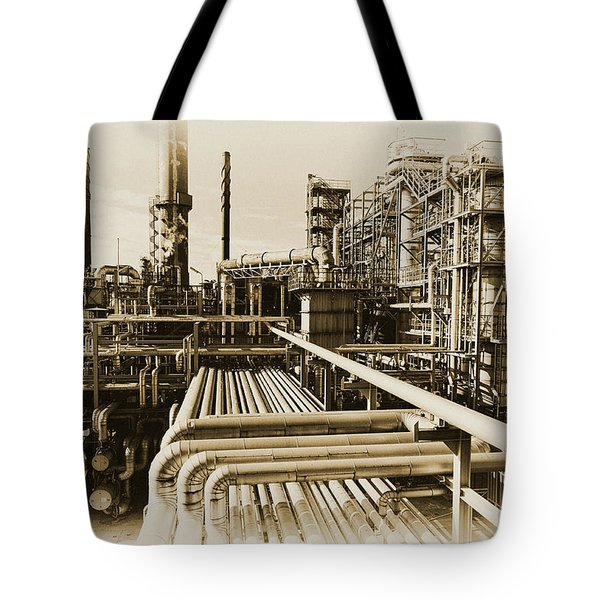 Oil Refinery In Old Vintage Processing Concept Tote Bag
