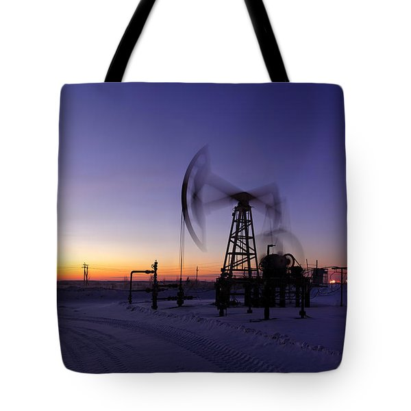Oil Rig In Action. Tote Bag