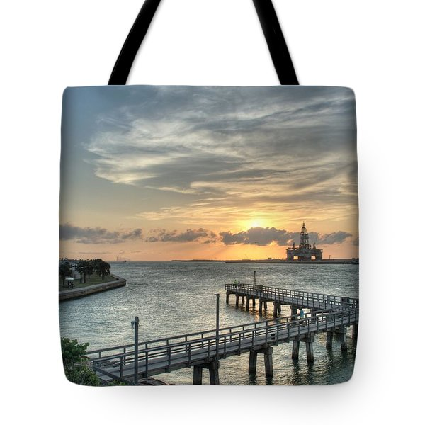 Oil Rig In Gulf Tote Bag