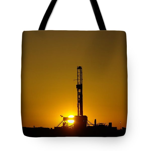 Oil Rig Near Killdeer In The Morn Tote Bag
